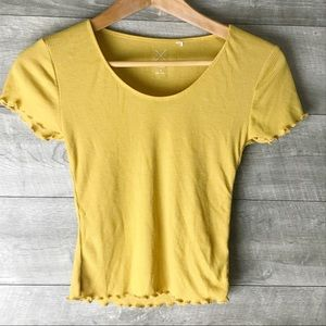 PacSun yellow ribbed frilled hem tee shirt crop